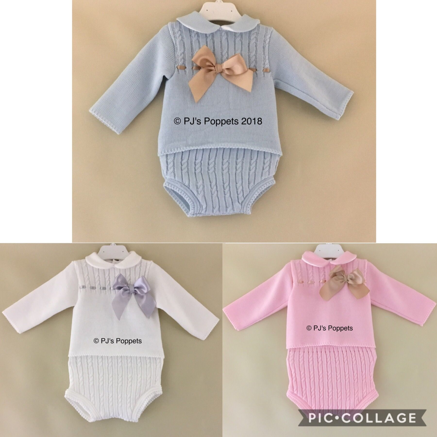 87ad90774 BABY GIRLS PORTUGUESE KNITTED JUMPER SHORTS JAM PANTS SET PINK CAMEL BOW